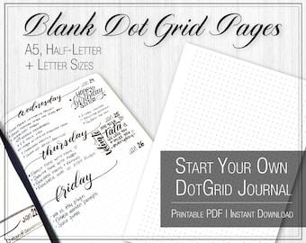 Blank Dot Grid Pages | Printable | PDF | Letter, Half-Letter, A5 | Instant Download