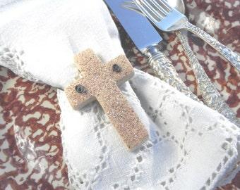 Cross Baptism Favors Easter Napkin Rings Cinnamon Cross Salt Dough Ornaments Set of 10