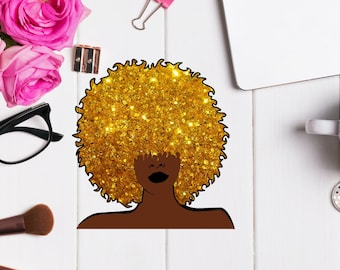 Cookie - African American Planner sticker with Glitter Afro for any planner