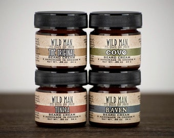 Beard Cream Balm Sampler Gift Set - Wild Man - Mens Grooming For Him