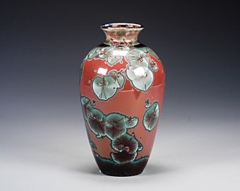 Porcelain Vase - Red, Green, Blue - Crystalline Glaze - Hand Made Pottery - FREE SHIPPING - #A-5275