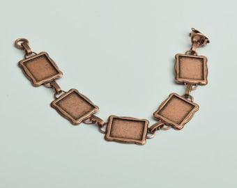 "Bezel Link Bracelet Copper Antique finish, 7"" , OEB01CO"