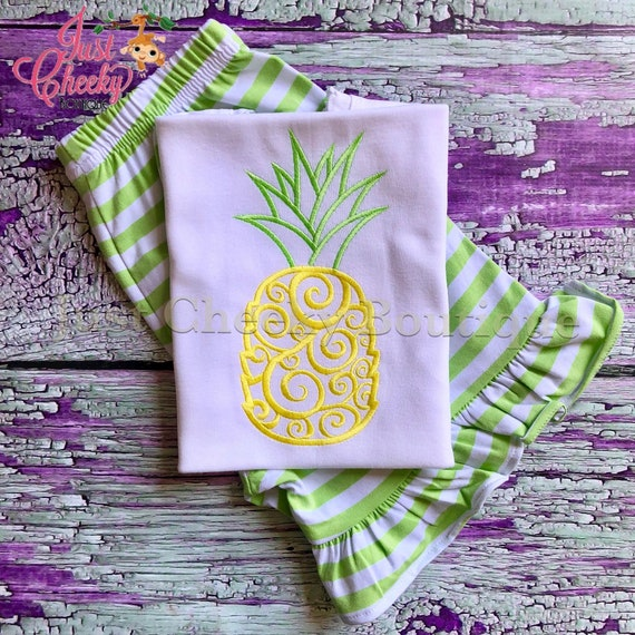 Swirly Pineapple Short Set - Pineapple Embroidered Shirt - Spring Short Set - Summer Short Set - Pineapple Outfit