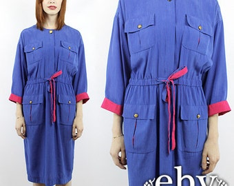 Colorblock Dress Minimalist Dress 1980s Dress Vintage 80s Colorblock Shirt Dress Day Dress 80s Dress Colorblock Shirtdress Blue Dress S M L