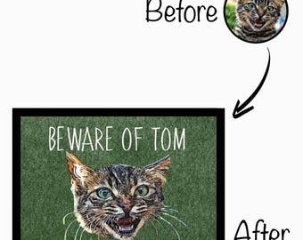 Your Cats Face On Doormat - Beware Of 'insert name' Home Doormat