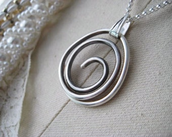 Swirl Necklace, Sterling SIlver, Hand Formed, Slightly Oxidized, Swirl Pendant, Rolo Chain, candies64