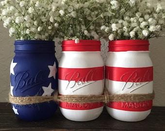 American Flag Mason Jars. Memorial Day Decor. Fourth of July Decor. Mason Jars Decor.