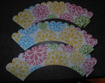 Flowers Cupcake Wrappers  Set of 12
