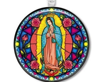 """women's jewelry Sterling Silver Virgin Mary of Guadalupe Pressed Flower Pendant Necklace, 18"""""""