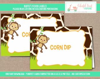 INSTANT DOWNLOAD, Jungle Food Labels, Jungle Place Cards, Buffet Labels, Place Cards, Jungle, Safari, #0016