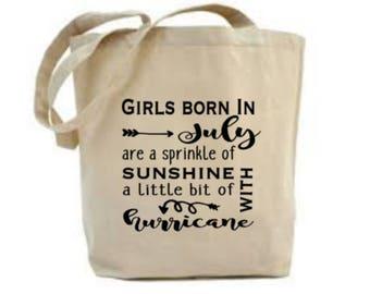 July Birthday Gift, July Bag, July Birthday Idea, Ladies Girls Birthday Present, Tote Bag, Cotton Bag, Birthday Gift for Her,