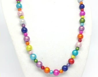 Rainbow mermaid necklace gift for her versatile jewelry acrylic beads statement jewelry bridesmaid bridal ready to ship multicolor necklace