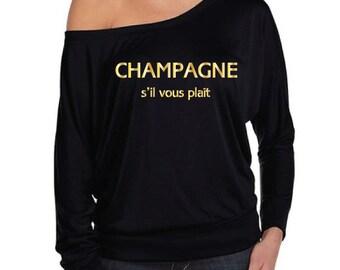 Champagne S'il Vous Plait T-Shirt.  Bachelorette Party Shirt. Hen Party Shirt. Wine Shirt. Champagne Shirt. Off The Shoulder Shirt.