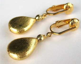 Brushed Gold Teardrop Clip On Earrings, Gold Teardrop Clipons, Metallic Clip Earrings, Satin Gold, Handmade, Luxe