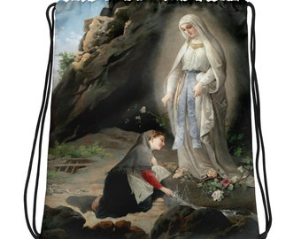 Our Lady of Lourdes Drawstring bag - religious bags - catholic gift for her - Virgin Immaculate - catholic bag
