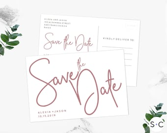 Dusty Rose Save the Date Postcard Template| Save the Date | Save the Date Template | Printable and Editable |Save the Date Cards