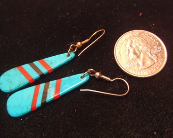 Vintage Native American Indian earrings -  Turquoise - Coral Black Onyx sterling silver-  FREE SHIPPING SALE