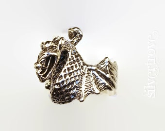 Sterling Silver Dragon Ring, Size 7 Ring, Lost Wax Casting Ring, Chunky Silver Ring, Fire-Breathing Dragon Ring, Statement Ring