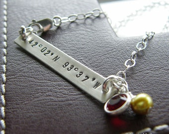 Latitude Longitude Bar Bracelet - Personalized Coordinates Jewelry - Hand Stamped Genuine Sterling Silver - Optional Birthstone or Pearl