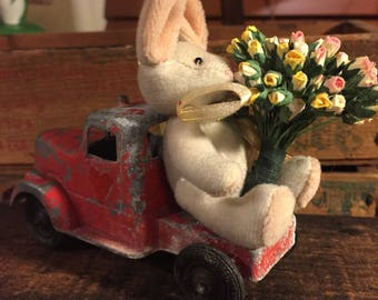 Easter Delivery - Little Bunny bringing Six Dozen Roses atop A Tootsie Toy Truck