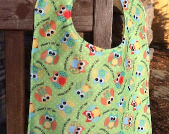 Water Resistant PUL TODDLER Bib: Owls on Green