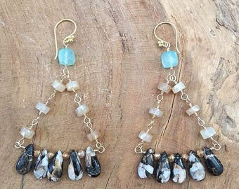Chalcedony Earrings | Obsidian Earrings | Mystic Citrine Earrings | Chandelier Earrings | 24K Gold Vermeil | Gemstone Earrings