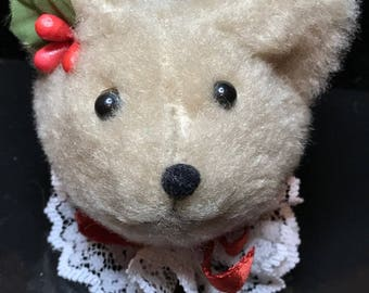 TEDDY BEAR HEAD Christmas Ornament (From The Hen in The Holly Designs)