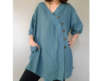 Custom Made Blue Cotton Biased V-Neck Front Coconut Shell Buttons Boho Blouse one fit all most (H)