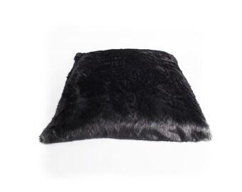 Large Black long Haired Fur Cushion/ Pillow.
