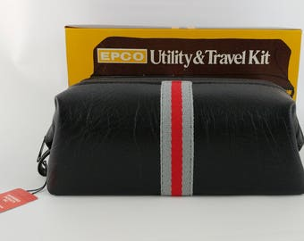 Vintage Vinyl Dop Kit, Made in USA by  EPCO, Utility And Travel Kit, Black With Stripe, New Old Stock In Box