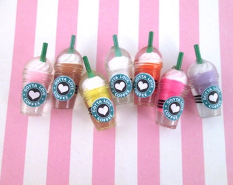 Miniature Coffee Cup Cabochons, Multicolor Frappuccino Cabochons, Iced Coffee Cups