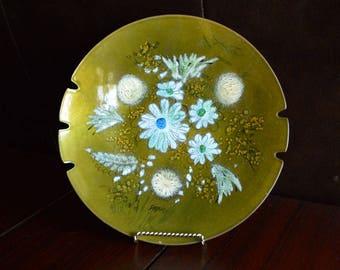 Vintage Mid Century Enameled Copper Ashtray Bowl by Sascha Brastoff