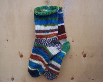 Knit Socks Random Kindness 1 pair adult size 7 to 9 hand knit Fabulous Funky Footwear