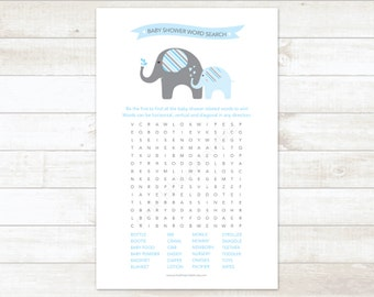 baby shower word search game baby boy shower game blue elephant baby shower game - INSTANT DOWNLOAD
