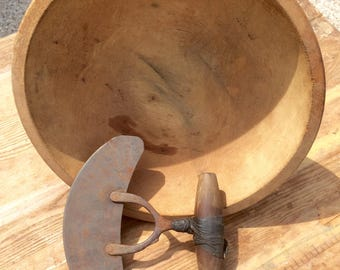 Primitive Herb Cutter and Hand Turned Bowl, Rustic and Farmhouse Decor