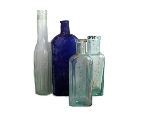 Antique Glass Poison Bottle Collection