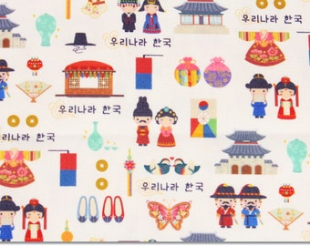 Korean Fabric that Korean Traditional House, Costume, Shoes, China, Lettering and Fan are printed in / made in Korea by the Half Yard