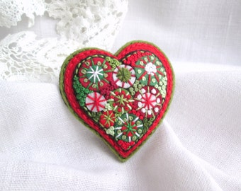 Heart felt brooch Valentines day gift for mom for her gift idea Red heart gift for women Valentines brooch Hand embroidered french knot pin