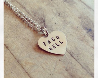 I Love Tacos Heart Stamped Necklace - Conversation Heart