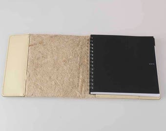 Notepad in hemp fiber and recycled leather--hemp fiber clip and recycled leather