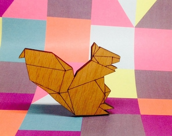 Origami style Squirrel geometric laser cut wooden wood brooch badge pin