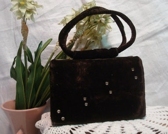Vintage Velvet/Rhinestone Little Girl's Purse