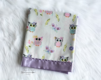 Owl Silky Baby Blanket ~ Bright Eyed Owls on Lavender Satin, Silky Baby Blanket, Minky and Satin Blanket, Satin Blanket, Silky Blanket