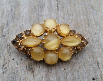 Austrian Yellow Moonglow Cabochon and Topaz Colored Rhinestone Brooch