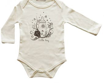 Bodysuit beige organic cotton for boy