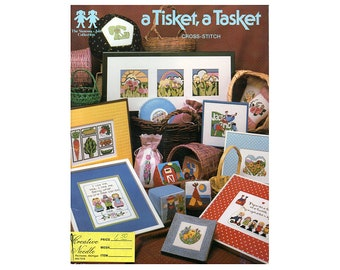 A Tisket, a Tasket Cross Stitch Booklet, Cross Stitch Patterns , Vanessa Ann Cross Stitch, Country Cross Stitch, by NewYorkTreasures Etsy