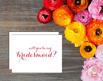 Will You Be My Wedding Party Card with Envelope - Digital Handwritten Calligraphy
