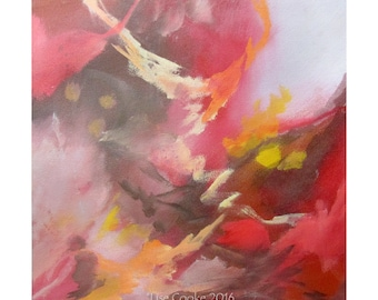 Abstract Expression Art Original Contemporary Painting red gray sepia Musing 149