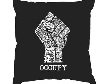 Throw Pillow Cover - Word Art - Occupy Wall Street - Fight The Power