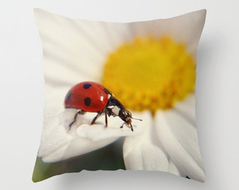 Ladybug pillow, ladybird cushion, photography pillow, colourful, throw pillow, scatter cushion, pillow cover, cushion cover, with insert
